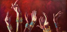 """Celebration and Praise by Annelie Solis Acrylic and texture on canvas, 48"""" x 24"""""""