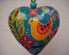 Boho Handpainted Paper Mache Heart