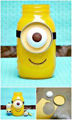 DIY Minion Mason Jar Gift - 130 Easy Craft Ideas Using Mason Jars for Spring & Summer - DIY & Crafts