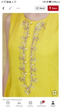 Colors & Crafts Boutique™ offers unique apparel and jewelry to women who value versatility, style and comfort. We specialize in customized attires crafted in high quality fabric and craftsmanship. Please note: These are not our designs. We can custom make Embroidery Suits Punjabi, Embroidery On Kurtis, Kurti Embroidery Design, Embroidery Dress, Dress Neck Designs, Blouse Designs, Kurta Neck Design, Kurta Designs Women, Indian Designer Wear