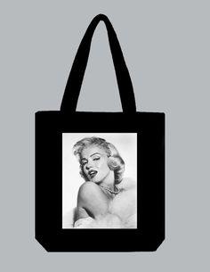Marilyn Monroe 15x15 BLACK or DARK DENIM Tote Bag  by Whimsybags, $14.00