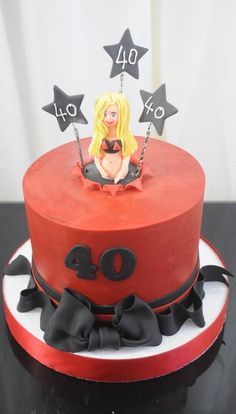 40th Birthday Cake in Red and Black