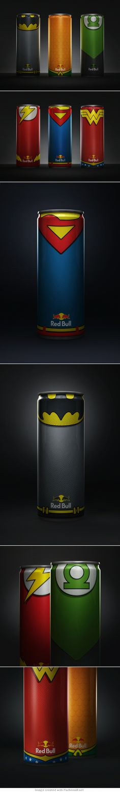 Red bull Superheroes | great design concept solution of Diego Fonseca | #packaging #design | Ivan Giorgetti via The Dieline