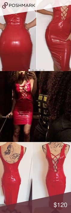 A red latex dress Fitted red dress! Guaranteed to shut a party down. Only worn once and very well made. Dresses Midi
