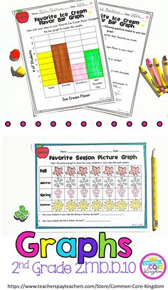Looking for a way for your 2nd graders to learn about bar graphs and picture graphs? This product provides plenty of practice with creating graphs and answering questions about graphs. There are also two quizzes to assess your second graders on Common Core Standard 2.MD.D.10. Click here to purchase.