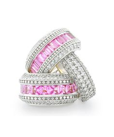 Mastercrafted in white gold set with diamonds and pink sapphires. Jenna Clifford, Dress Rings, Bangles, Bracelets, Inspirational Gifts, Pink Sapphire, Diamond Jewelry, White Gold, Bling