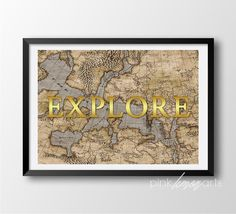 World map print Explore Printable old map Gold by PinkLemonArts