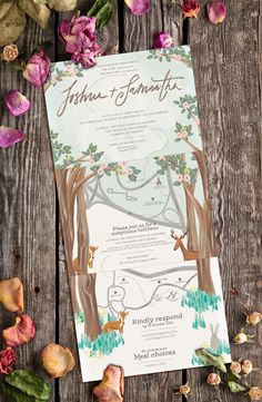 Watercolour illustration wedding invitation with a map! Love the woodland theme.