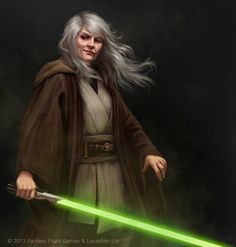 I love the look on this Jedi master's face...plus, other than the Jedi librarian, she's the only mature Jedi female in traditional robes that I've seen. Kudos to the artist for thinking out of the box.