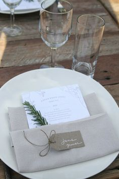 Clever folded napkin: nametag on it, menu in it.