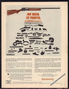 1964 BROWNING Automatic 5 Shotgun AD w/ image of all parts #BrowningLoading that magazine is a pain! Get your Magazine speedloader today! http://www.amazon.com/shops/raeind