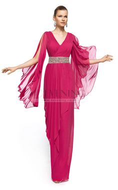 Elegant Fuchsia V-Neck Column/Sheath Evening Dress(JT4E-0318)