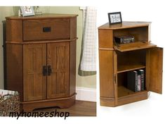 Rustic Corner Accent Storage Cabinet 2 Door Pull Out Tray Wood Oak Living Room #TMSFurniture #Rustic