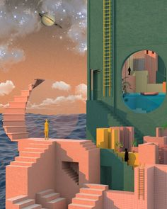 Surreal Illustrations Pushing The Boundaries Of Spatial Design Surreal Illustrations Pushing The Boundaries Of Spatial Design – Fubiz Media Collage Architecture, Colour Architecture, Art Design, Graphic Design, Modernisme, Retro Futurism, Surreal Art, Painting, Art Inspo