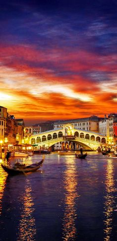 Ponte Rialto and gondola bathed in a golden sunset in Venice, Italy.