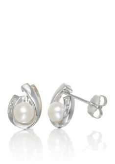 Women Pearl And Diamond Earrings In Sterling Silver And 14K Yellow Gold e9527ed0892