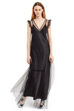 Opening Ceremony, Tulle Midi Dress , V-neck, Asymmetrical pleated tulle skirt, Fulled sleeves, Includes slip dress, Body, 50% polyester, 50% nylon; lining, 100% polyester, Imported