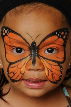 Face painting is, applying a design to the face, usually children's faces, using brushes and paints. These face painting ideas would help on festivals and parties. Face Painting Designs, Paint Designs, Body Painting, Easy Face Painting, The Face, Face And Body, Butterfly Face Paint, Monarch Butterfly, Orange Butterfly