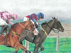 two national hunt race horses racing to the finish against a misty winter landscape