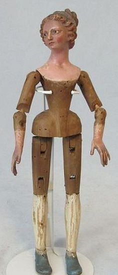 13 Inch  EARLY Creche Figure with Jointed Wood Body,