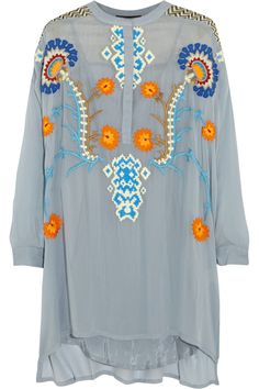 Vineet Bahl Embroidered georgette tunic NET-A-PORTER.COM