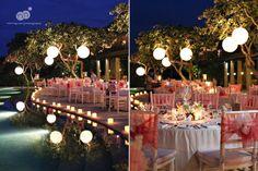 michelle   danh   destination wedding   four seasons jimbaran bay   bali indonesia   outdoor reception with lanterns overlooking infinity pool