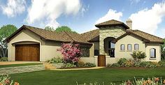 Front Courtyard and Huge Rear Patio - 36819JG | 1st Floor Master Suite, Butler Walk-in Pantry, Courtyard, European, Hill Country, Mediterranean, PDF, Split Bedrooms, Tuscan | Architectural Designs