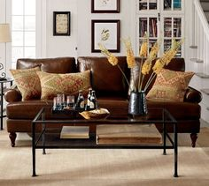 Leather couch for family room