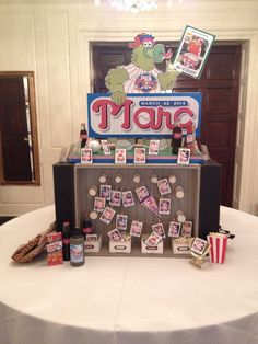 Baseball themed Bar Mitzvah. Place card table.