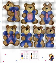 Teddy alphabet pattern (T-Z)