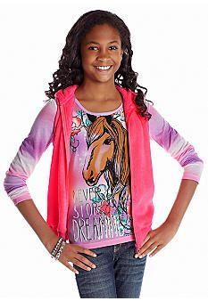 Belle du Jour Horse Tee and Woobie Vest Set Girls 7-16