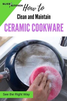 There are several easy, quick and wallet-friendly ways to keep your ceramic cookware clean and ceramic cookware has become very popular as a non-toxic and non-stick alternative. In this article, you are going to learn the proper way to clean and maintain your ceramic pots and pans for the best results. Click to read more. #cookwarecleaning #cleaningtips #cleaninghacks #ceramiccookware #nontoxic #nontoxicliving #nonstickcookware #sliceofkitchen