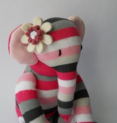 plush elephant sock animal doll, plush art doll, sock creature, pink, soft sculpture, Ellerina