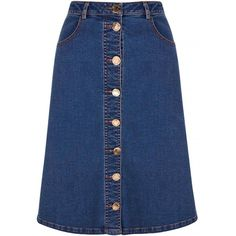 Yumi Denim Buttoned Skirt ($66) ❤ liked on Polyvore featuring skirts, blue, women, blue pencil skirt, blue a line skirt, pencil skirts, blue skirt and a-line skirts