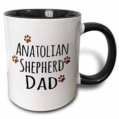 3dRose mug_153849_4 Anatolian Shepherd Dog Dad by breed muddy brown paw prints doggy love doggie lovers Two Tone Black Mug 11 oz BlackWhite *** Learn more by visiting the image link.