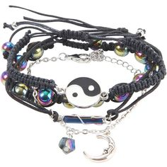 Blackheart Yin-Yang Mystical Moon Bracelet Set Hot Topic (8.80 CAD) ❤ liked on Polyvore featuring jewelry, bracelets, rope bracelet, crystal jewelry, beaded cord bracelet, crystal bangle and braided rope bracelet