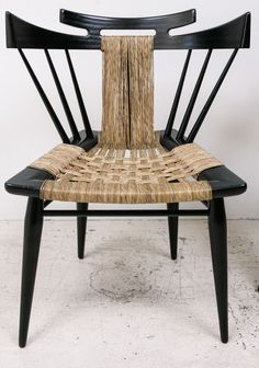 Edmund Spence; Ebonized Mahogany and Sea Grass Side Chair, 1950s - there's something very Japanese/Samurai about this