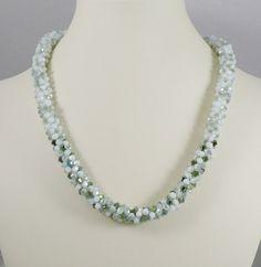 Kumihimo Necklace Green Opal Crystal di IndulgedGirl su Etsy