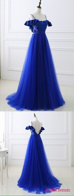 Off the Shoulder Royal Blue Prom Dress Tulle Long Prom dresses PD20188735
