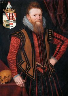 """William Brodrick (or Broderick), embroiderer, came to London from Richmond in Yorkshire. He was an embroiderer and soon established a successful business in the City, becoming embroiderer to James I. By 1605, he had a country house in Wandsworth, probably in the present Putney Bridge Road. This portrait was painted in 1614 when Brodrick was 56.""""In the 17th c. all professional embroiderers were men. A good deal of their work [went] to three Stuart kings James I, Charles I and Charles II."""