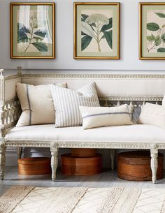 Love this mix of elegant antique French furnishings paired with sunwashed linens and gilded accents.