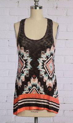 COWGIRL gYPSY AZTEC Tribal Tank Top Shirt Tunic Boho knit Western Medium NWOT #entiglamour #TANK