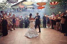 Umbrella canopy over the dance floor...