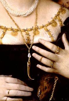 Portrait of Lucina Brembati by Lorenzo Lotto (1480-1556), detail