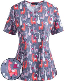 Recent purchase - Zoe + Chloe Llama Print Scrub Top at First Uniform Inc. in Charlotte, NC. I wear with top with koi khaki pants.
