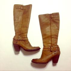 Born leather heeled boots. Lightly worn, beautiful brown leather boots - zip up on the inner side - most of wear is around the heel and the sole Born Shoes Heeled Boots