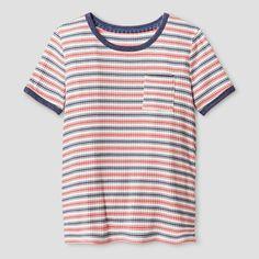 Girls' Rib Knit T-Shirt Art Class - Chambray/Coral (Chambray/Pink) XL, Girl's