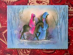 Vintage Christmas Greeting Card - Nativity Mother Mary on Donkey Carrying Baby