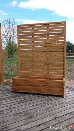 donica z pergolą backyard design diy diy modern screen wall Diy Pergola, Pergola Screens, Garden Privacy Screen, Outdoor Privacy, Privacy Walls, Modern Pergola, Privacy Planter, Pergola Ideas, Patio Ideas
