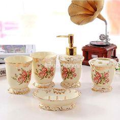 Beautiful Bathroom Ensembles romantic rose pattern resin five pieces bathroom accessories